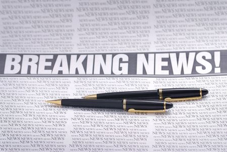 breaking news headline.  newspaper page. information theme Stock Photo - 3546489
