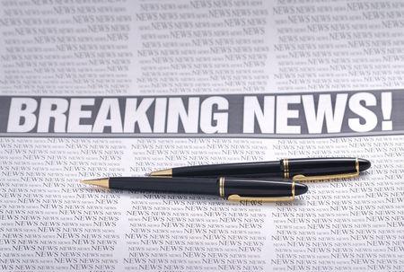 breaking news headline.  newspaper page. information theme Stock Photo - 3546489