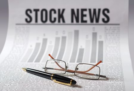 stock news: Financial stock information. Business news. Newspaper of a investment and strategy Stock Photo
