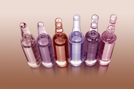 ampules: clinic laboratory ampules. phramaceutical products, medicament - vaccine Stock Photo