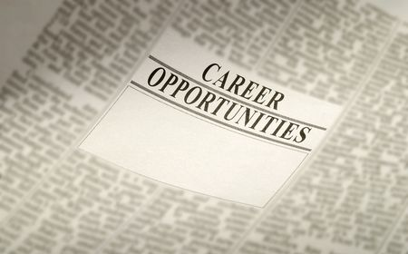 temporary: newspaper career opportunity, employment concept. jobs