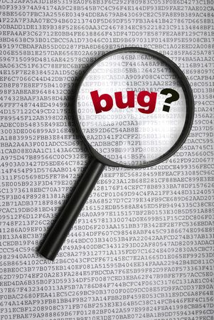 searching for a bug, error code alert photo