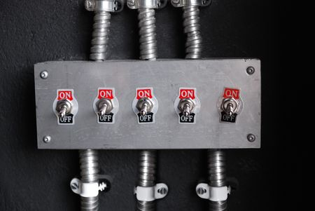 disconnect: retro power switch on off, voltage device Stock Photo