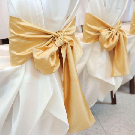 Wedding interior. ribbon decoration photo