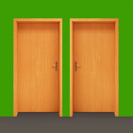 two wooden doors on green wall  photo