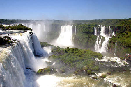 view of iguassu falls in border of brazil and argentine
