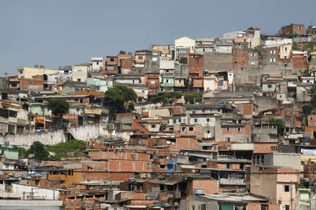 shacks in the favellas, a poor neighborhood in Sao Paulo, the big city in Brazil photo