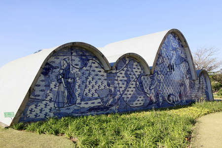 francis: Saint francis church  design of oscar niemeyer and paint of candido portinari in minas gerais, brazil