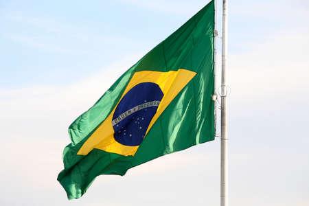 The national flag of Brazil  Brasil  flutters in the wind