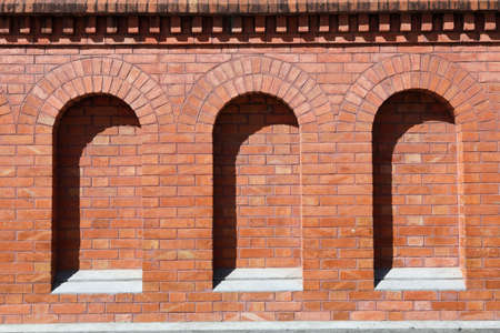 arcs: red brick wall with arcs in downtown sao paulo brazil