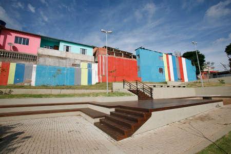 poor neighbourhood revitalized in suburb of sao paulo, brazil