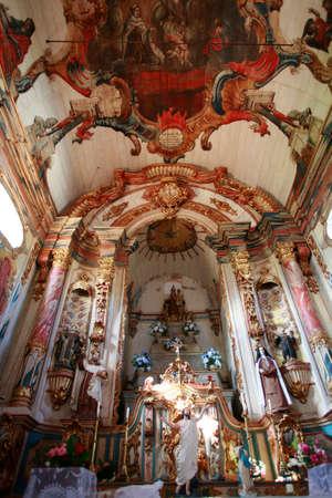 indoor of baroque church in brazil Editorial
