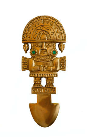 ceremonial: peruvian ancient ceremonial, knive isolated in white background Stock Photo
