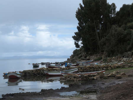 copacabana, titicaca lake, border of bolivia and peru                                photo