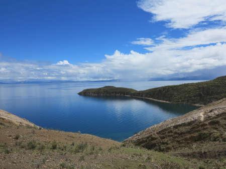 view of titicaca lake, border of bolivia and peru                            photo