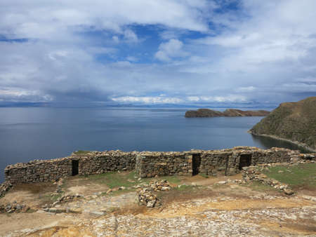 view of titicaca lake, border of bolivia and peru                            photo