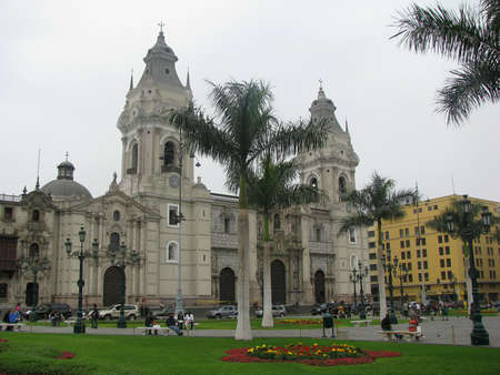 cathedral in plaza mayor, lima, peru