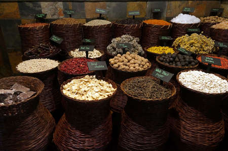 UAE Dubai many different spices are for sale at the spice souq in Deira                           photo