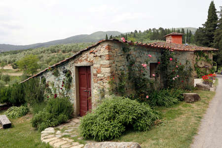 farmhouse in rural landscape, toscana, italy photo