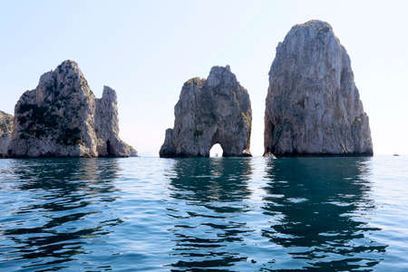 capri: Beautiful natural landmark off the shore of the Isle of Capri in Italy