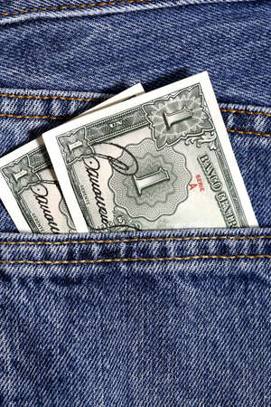bolivian: one guarani, bolivian money, in jeans pocket