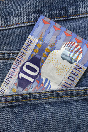 gulden: gulden, holland money, in the pocket of jeans Stock Photo