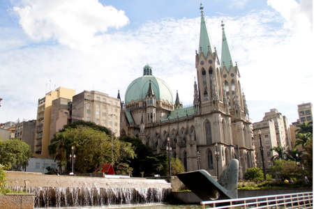 se: se cathedral in downtown sao paulo, brazil