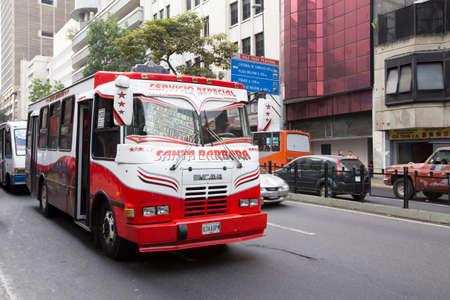 caracas: bus in downtown caracas, venezuela Editorial