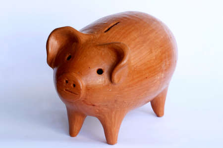 Clay piggy bank on money photo