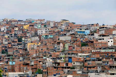 Shacks in the favela, neighborhood in Sao Paulo, brazil.