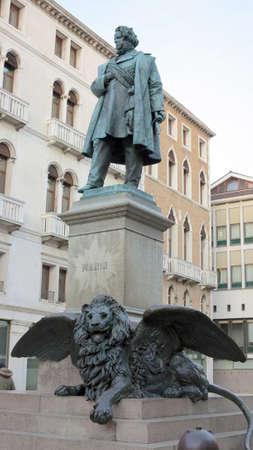 Bronze statue of Daniel Manin in Venice. Italy. Europe