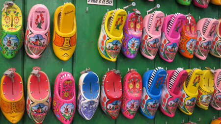 clog: Typical Dutch clogs on sale on the flower market in Amsterdam, Netherlands