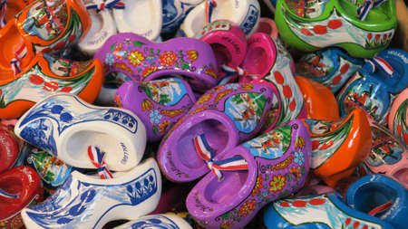 dutch typical: Typical Dutch clogs on sale on the flower market in Amsterdam, Netherlands
