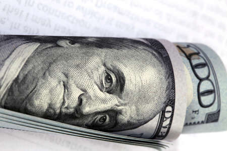 the franklin: one hundred dollar bill with benjamin franklin image Stock Photo