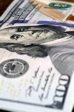 one hundred dollar bill: one hundred dollar bill with benjamin franklin image Stock Photo