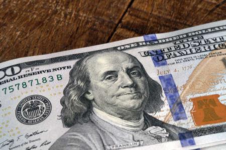 benjamin: one hundred dollar bill with benjamin franklin image Stock Photo