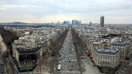 elysees: aerial view of avenue champs elysees in paris, france