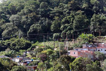 slums: illegal slums in atlantic forest, sao paulo, brazil Stock Photo