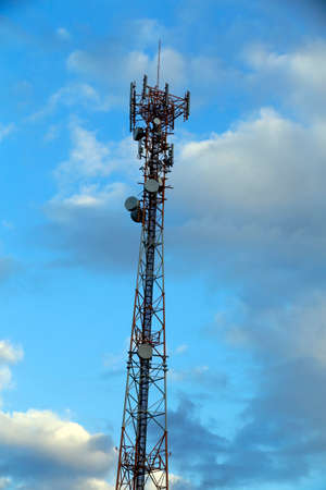 communication tower: silhouette of communication tower with clouds and sky, in brazil Stock Photo