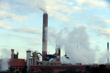 industry inside: chimney of pollution industry inside brazil