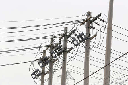 conductor electricity: pole of distribution of electric energy with white background, sao paulo, brazil