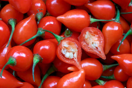 pout: close up of red pepper, pimenta de cheiro