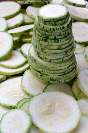 courgette: close up of slices of courgette