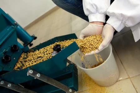 detail van de industrie van diervoeders in granen
