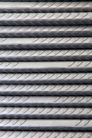 on rebar: pile of steel rebar used in civil construction
