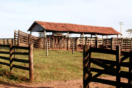 corral: view of old corral on farm in brazil Stock Photo