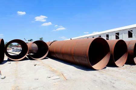 steel: big steel rusty tube on road construction