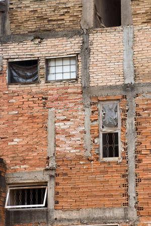 residence: brick facade of residence in slum on sao paulo, brazil Stock Photo