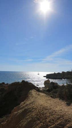 scarp: view of Falesia Beach in sunny day in Albufeira, Portugal