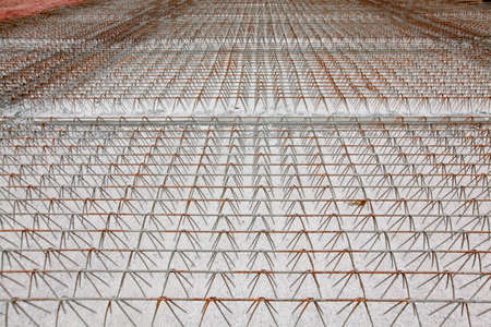 strong base: detail of wire of steel rebar to road construction Stock Photo